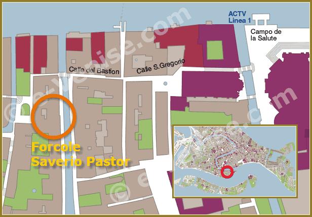 Plan d'accès à l'atelier du Remer sculpteur de Forcole Saverio Pastor à Venise