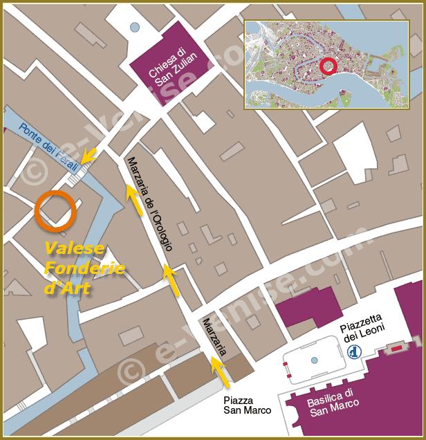 plan de situation de la Fonderie d'Art Valese à Venise