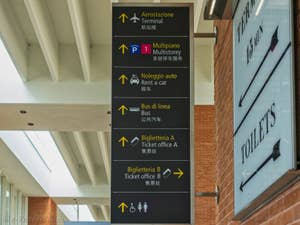 Signalisation Hall des embarcadères bateaux-taxis et Alilaguna à l'Aéroport Marco Polo de Venise