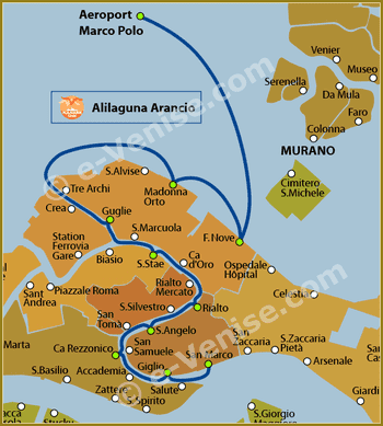 Plan de la Ligne Alilaguna Arancio Orange à Venise