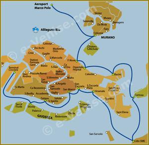 Plan de la Ligne Alilaguna Blu à Venise