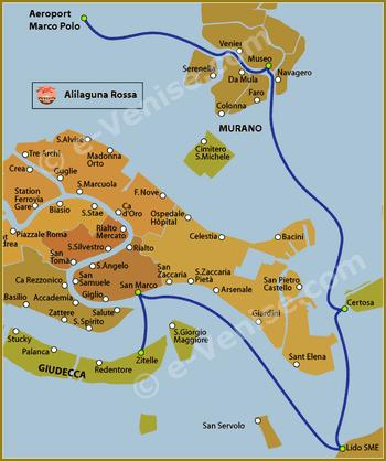 Plan de la Ligne Alilaguna Rossa Rouge à Venise