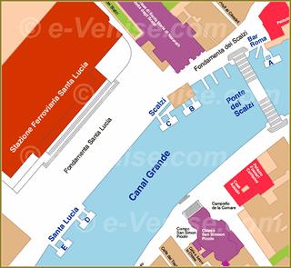 Venise Vaporetto Carte Plan des embarcaderes à la Gare (Ferrovia) Santa Lucia ACTV