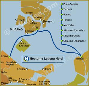 Plan de la Ligne N Nocturne Laguna Nord du Vaporetto à Venise ACTV