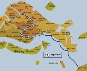 Plan de la ligne du Vaporetto ACTV numéro 1 à Venise en Italie