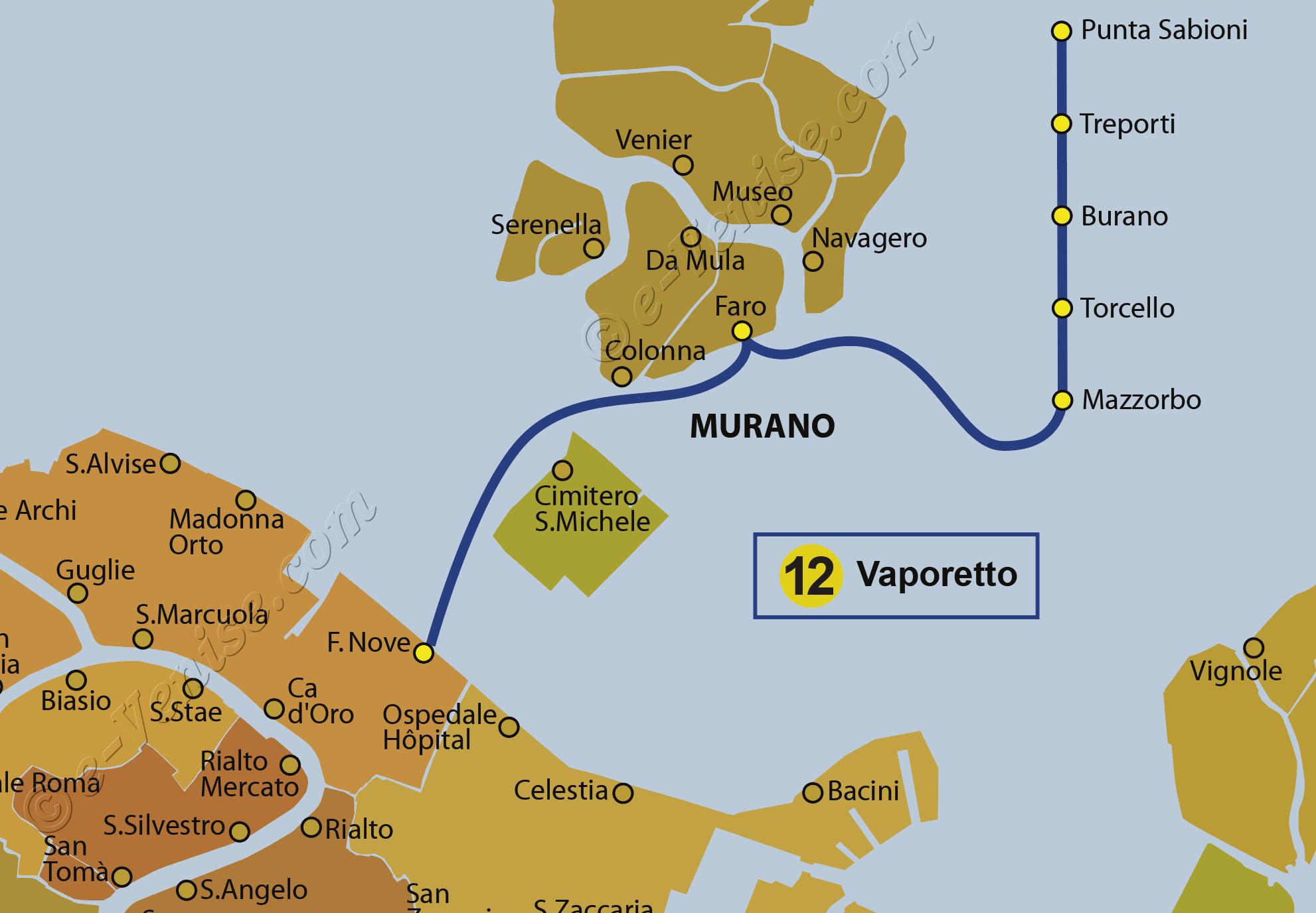 Carte Italie Burano.Venise Vaporetto Ligne 12 Transport Bateau Venise Burano Ferry