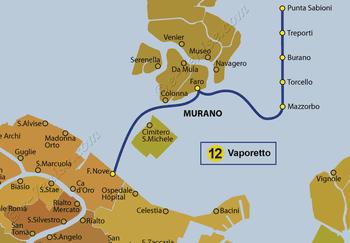 Plan de la ligne du Vaporetto ACTV numéro 12 à Venise en Italie