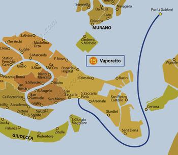 Plan de la ligne du Vaporetto ACTV numéro 15 à Venise en Italie