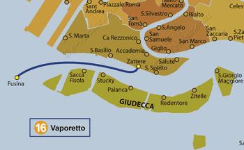 Plan de la ligne du Vaporetto ACTV numéro 16 à Venise en Italie