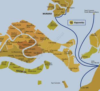 Plan de la ligne du Vaporetto ACTV numéro 18 à Venise en Italie