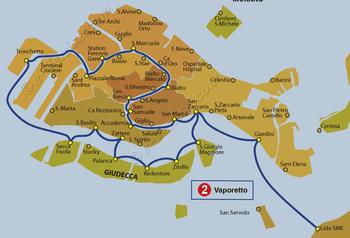 Plan de la ligne du Vaporetto ACTV numéro 2 à Venise en Italie