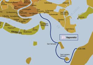 Plan de la ligne du Vaporetto ACTV numéro 20 à Venise en Italie