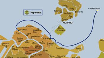 Plan de la ligne du Vaporetto ACTV numéro 22 à Venise en Italie