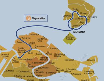 Plan de la ligne du Vaporetto ACTV numéro 3 à Venise en Italie