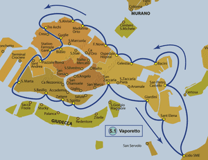 Plan de la ligne du Vaporetto ACTV numéro 5.1 à Venise en Italie