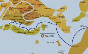 Plan de la ligne du Vaporetto ACTV numéro 8 à Venise en Italie