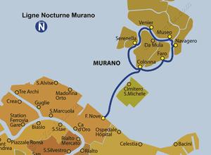 Plan de la ligne du Vaporetto ACTV Nocturne Murano à Venise en Italie