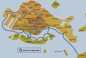 Plan de la ligne du Vaporetto ACTV Nocturne à Venise en Italie