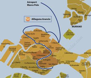 Plan de la ligne de bateau Alilaguna Arancio entre l'aéroport Marco Polo et Venise en Italie