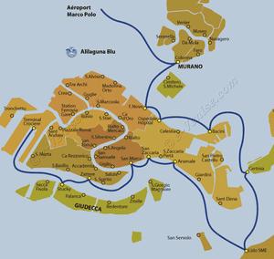 Plan de la ligne de bateau Alilaguna Blu entre l'aéroport Marco Polo et Venise en Italie