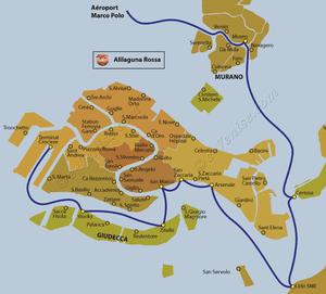 Plan de la ligne de bateau Alilaguna Rossa entre l'aéroport Marco Polo et Venise en Italie