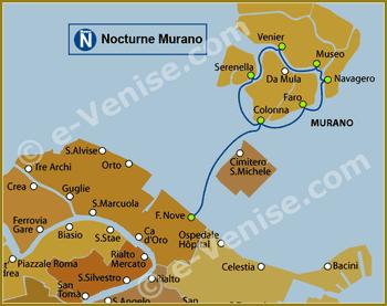 Plan de la Ligne N Nocturne Murano du Vaporetto à Venise ACTV