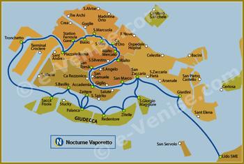 Plan de la Ligne N Nocturne du Vaporetto à Venise ACTV