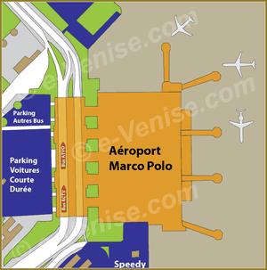 Plan d'accès aux Bus ACTV et ATVO à l'aéroport Marco Polo de Venise