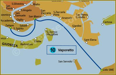 Plan de la Ligne 10 du Vaporetto à Venise ACTV