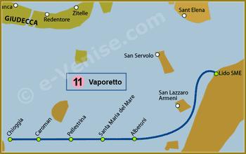 Plan de la Ligne 11 du Vaporetto à Venise