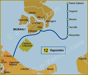Plan de la Ligne 12 du Vaporetto à Venise