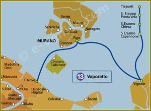 Plan de la Ligne 13 du Vaporetto à Venise