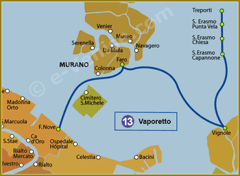 Plan de la Ligne 13 du Vaporetto à Venise ACTV
