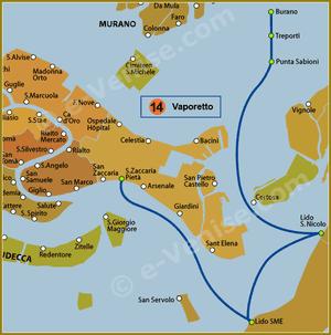 Plan de la Ligne 14 du Vaporetto à Venise
