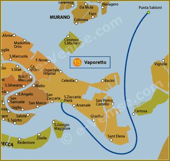 Plan de la Ligne 15 du Vaporetto à Venise