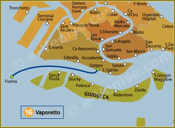 Plan de la Ligne 16 du Vaporetto à Venise
