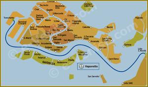 Plan de la Ligne 17 du Vaporetto à Venise