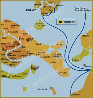 Plan de la Ligne 18 du Vaporetto à Venise ACTV