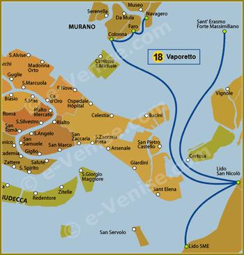 Plan de la Ligne 18 du Vaporetto à Venise
