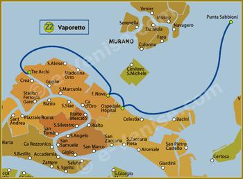 Plan de la Ligne 22 du Vaporetto à Venise