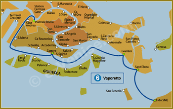 Plan de la Ligne 6 du Vaporetto à Venise