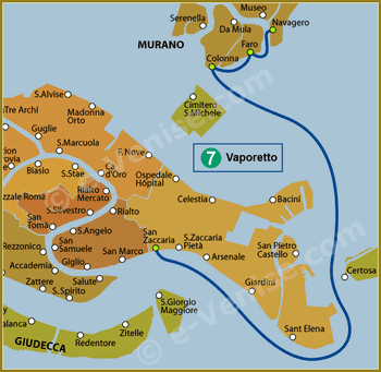 Plan de la Ligne 7 du Vaporetto à Venise