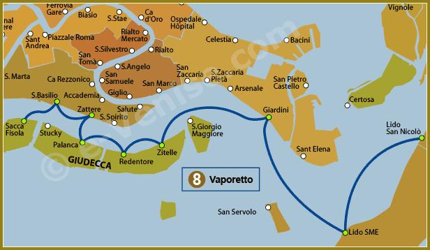 Venise Vaporetto Carte Plan de la Ligne 8